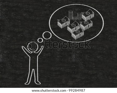 man with think bubble money written on blackboard background, high resolution