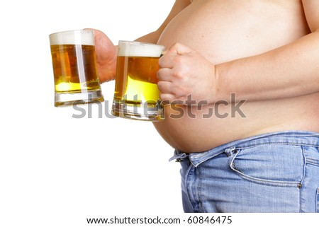 Man with two beer mugs isolated over white baclground