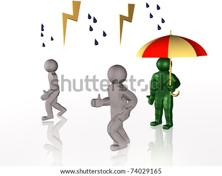 Man with umbrella on white reflective background.