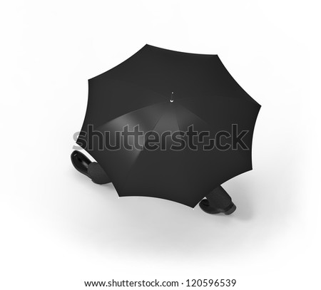 Man with umbrella walking, framed from above, on a white background..
