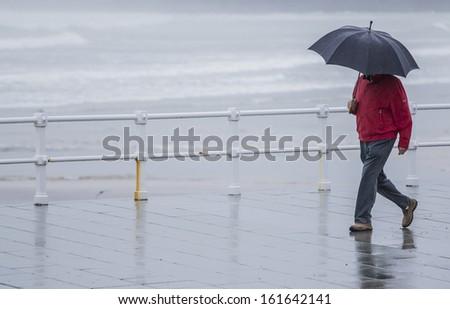 Man with umbrella walking in the rain