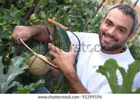 man with vegetable basket