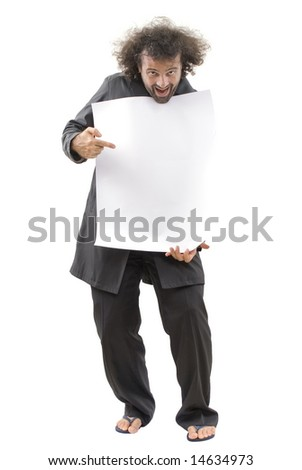 man with white card over a white background