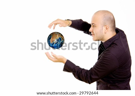Man with world levitate on white background