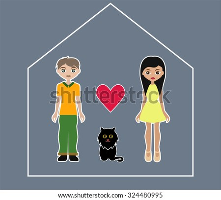 Man, woman and cat in abstract house. Happy family. Illustration #324480995