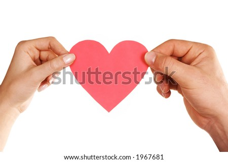 man woman hands holding heart