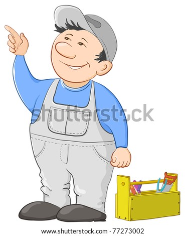 Man worker in a cap and a uniform with a toolbox - stock photo