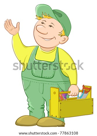 Man worker in a cap and a uniform with a toolbox,