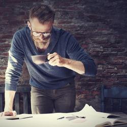 Man Working Home Office Start up Ideas Concept