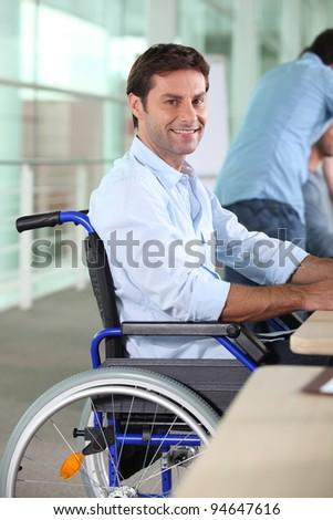 Man working in a wheelchair