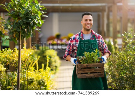 Man working in garden center  #741389269
