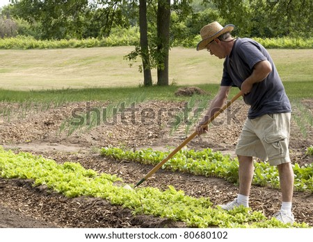 man working in his garden with a hoe