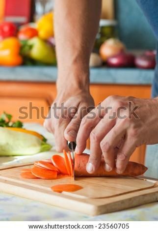 Man working in kitchen