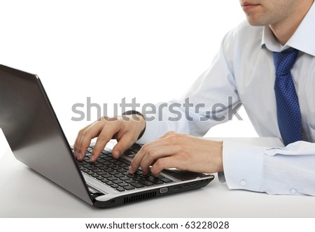 Man working on a laptop. Businessman.