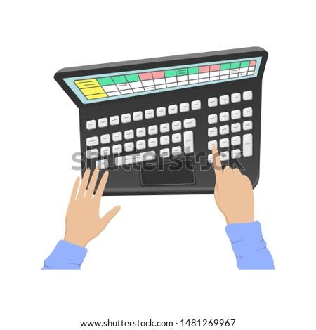 Man working on a laptop. Office work. Work in a computer program. Flat cartoon illustration.