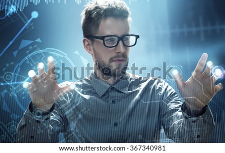 Man works on a HUD Touchscreen Interface