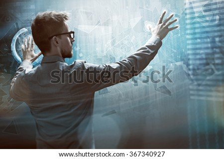Man works on a Touchscreen Interface #367340927