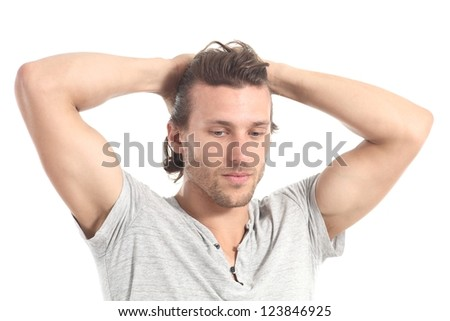 Man worried  with hands in his head on a white isolated background