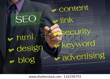 Man writing SEO concept