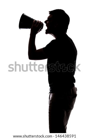 Man yelling in a megaphone in silhouette isolated over white background