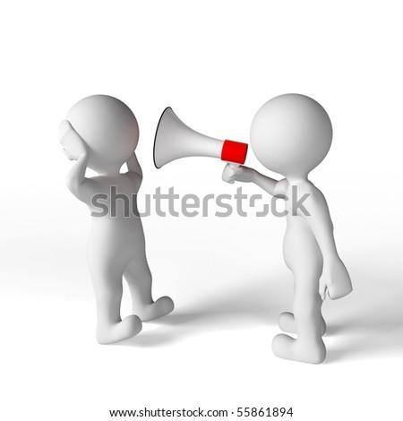 Man yelling trough a megaphone
