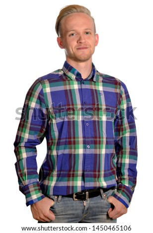 man young young isolated shirt check easy free guy boy
