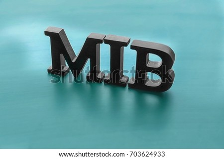 Management abbreviation MIB made with letters on color background