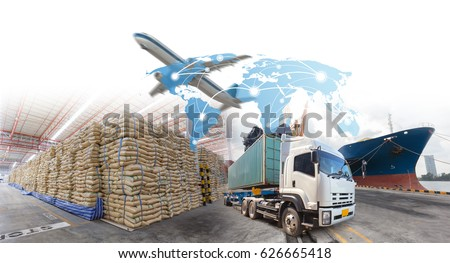 Management logistics of Industrial Container Cargo for Import Export business.(Elements of this image furnished by NASA)