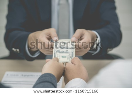 Management money payment buyer credit mortgage, Businessman hands hold cash with borrower.