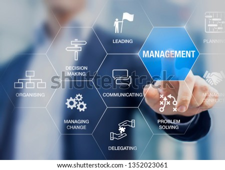 Management skills concept with manager touching icons of professional managing expertise, leadership, communicating, organizing, delegating, problem solving, decision making for business executives