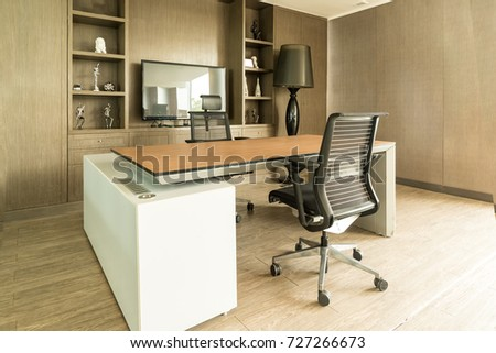 Manager board room with table, chairs and plasma display.nobody in room. interior office #727266673