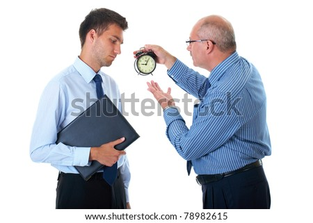 manager discipline young office worker for being late, point to clock, 5 past 9, isolated on white