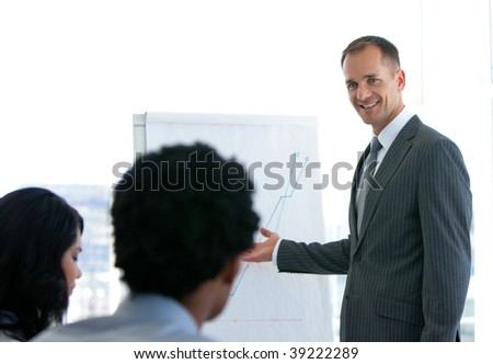 Manager giving a business presentation to his team