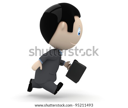 Manager in a hurry. Social 3D characters businessman carry briefcase in haste. New constantly growing collection of expressive multiuse people images. Concept for time is money illustration. Isolated.