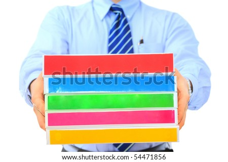Manager is handing pile of folders for correction