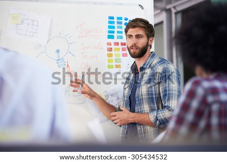 Manager Leading Creative Brainstorming Meeting In Office