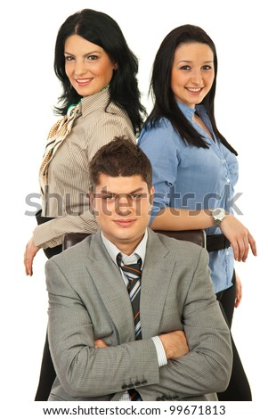 Manager man sitting on chair surrounded by two secretaries against white background