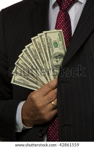 Manager of dollar bills in his hand