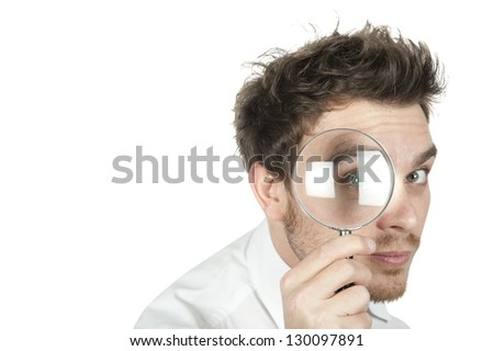 Manager search for business on white background