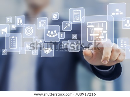 Manager touching AR virtual screen interface button about project management with icons of scheduling, budgeting, communication