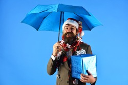 Manager with beard holds blue umbrella. Business and celebration concept. Man in smart suit, Santa hat and garlands on head on blue background. Businessman with happy face holds big present box.