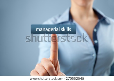 Managerial skills (human skills, technical skills, conceptual skills) training concept - woman click on button to purchase managerial skills course.