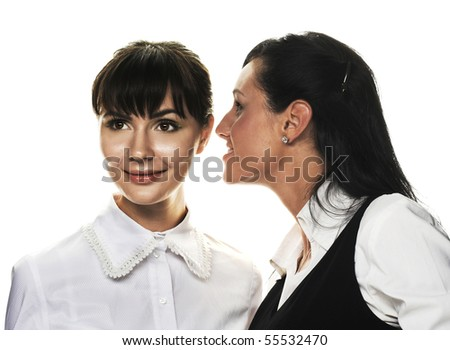 Managers.Two young women speaking about something