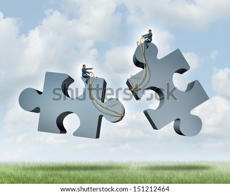 Managing a partnership as an agreement or contract to work together for financial success as two business people steering with a harness giant jigsaw puzzle pieces as a concept of team cooperation.