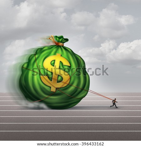 Managing wealth business concept as a businessman dragging a big bag of money as a financial metaphor for finance management or debt burden as a lender shackled to a huge debt.