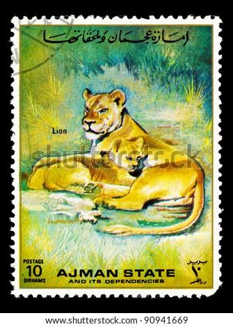 MANAMA AJMAN - CIRCA 1967: a stamp printed by Manama Ajman shows Lion, series animals, circa 1967