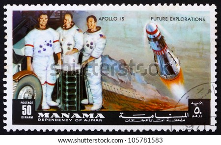 MANAMA - CIRCA 1972: a stamp printed in the Manama Bahrain shows Astronauts Scott, Worden and Irwin, Apollo 15, Mission to the Moon, circa 1972