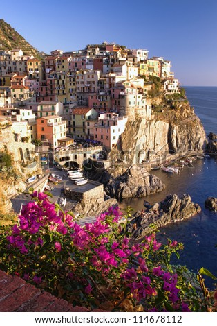 Manarola at sunset, Cinque Terre, Italy