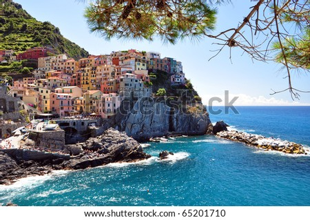 Manarola fisherman village in Cinque Terre, Italy - stock photo