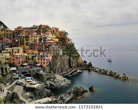 Manarola is an Italian city in the mountains by the sea Сток-фото ©